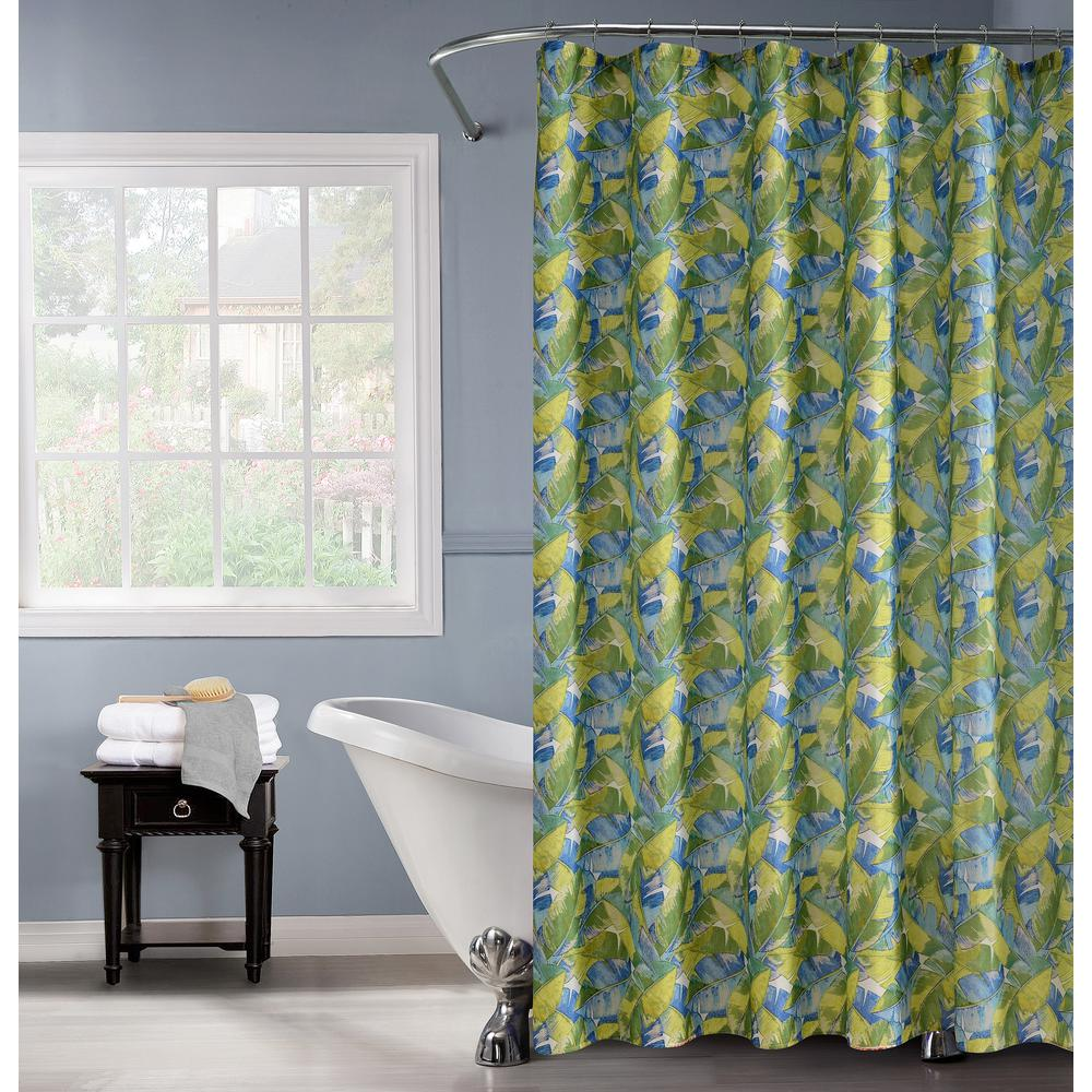 Multi Shower Curtain With 12 Metal Hooks And Palm