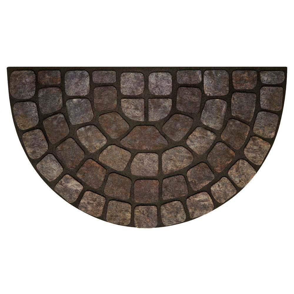 Click here to buy Achim Grey Stone Slice 18 inch x 30 inch Raised Rubber Door Mat by Achim.