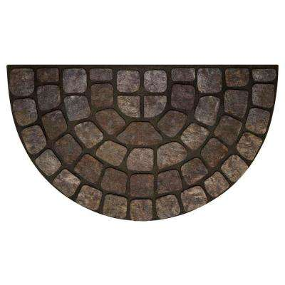 Grey Stone Slice 18 in. x 30 in. Raised Rubber Door Mat