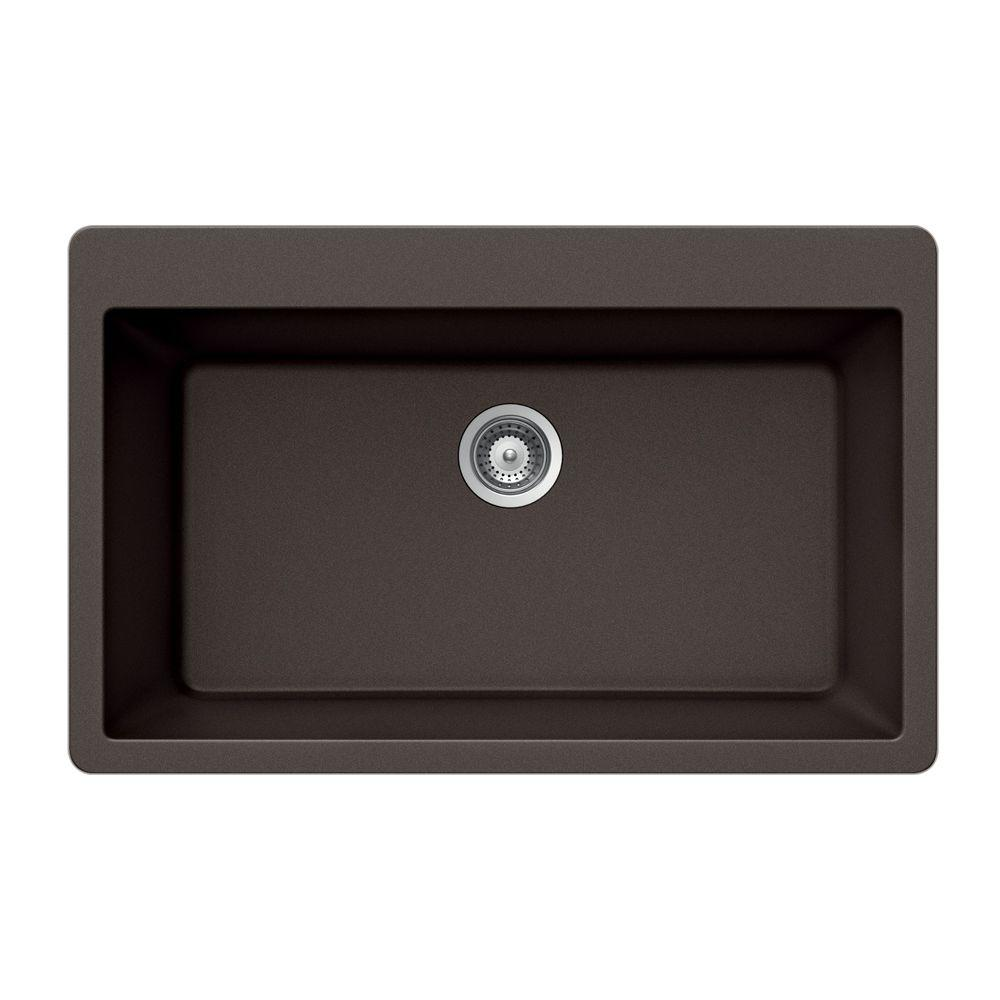 HOUZER Virtus Series Drop-In Granite 33x20.875x9.5 0-hole Single Basin Kitchen Sink in Mocha