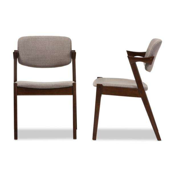 Elegant Gray Fabric Upholstered Dining Chairs (Set of 2)