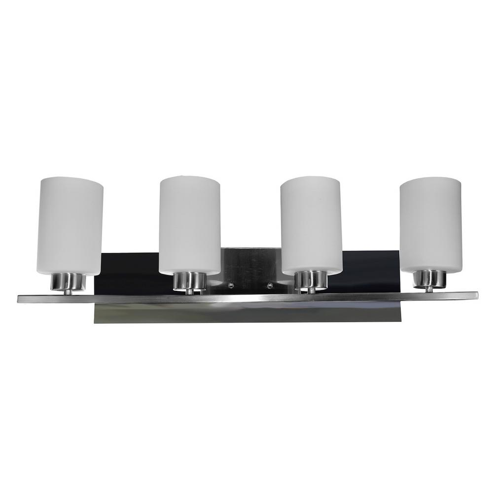 HomeSelects 10-Watts Dimmable 4-Light LED Brushed Nickel Vanity Light
