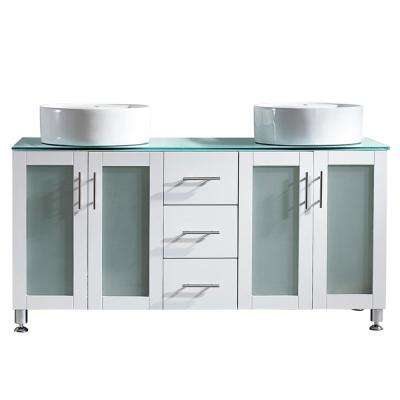 Tuscany 60 in. Bath Vanity in White with Tempered Glass Vanity Top in Green with White Vessel Sinks