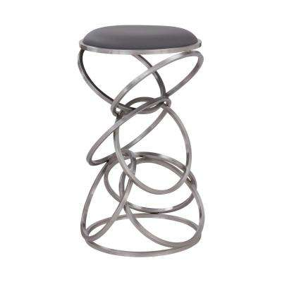 Kelila Contemporary 26 in. Counter Height in Brushed Stainless Steel Finish and Grey Faux Leather Barstool