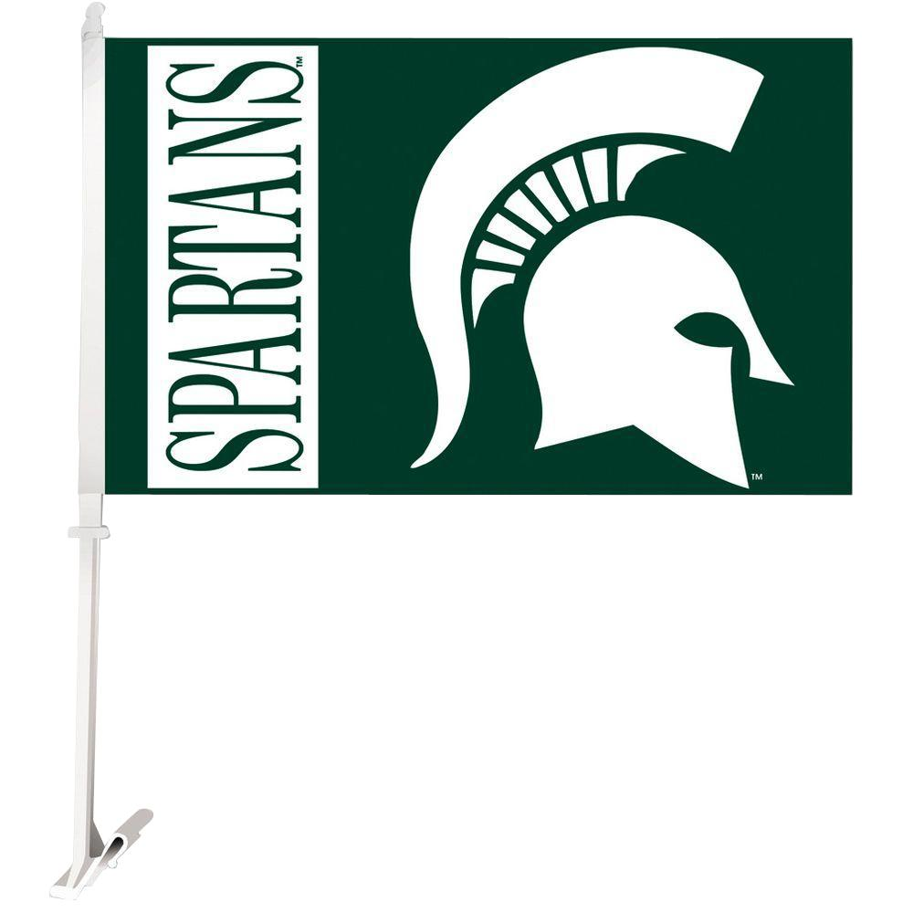 BSI Products NCAA 11 in. x 18 in. Michigan State 2-Sided Car Flag with 1-1/2 ft. Plastic Flagpole (Set of 2)