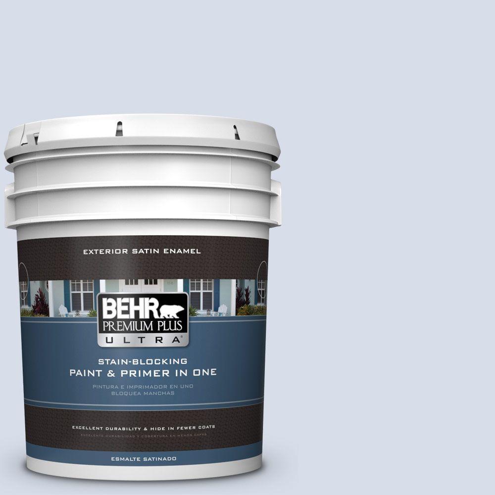 BEHR Premium Plus Ultra 5-gal. #590E-2 Snow Ballet Satin Enamel Exterior Paint