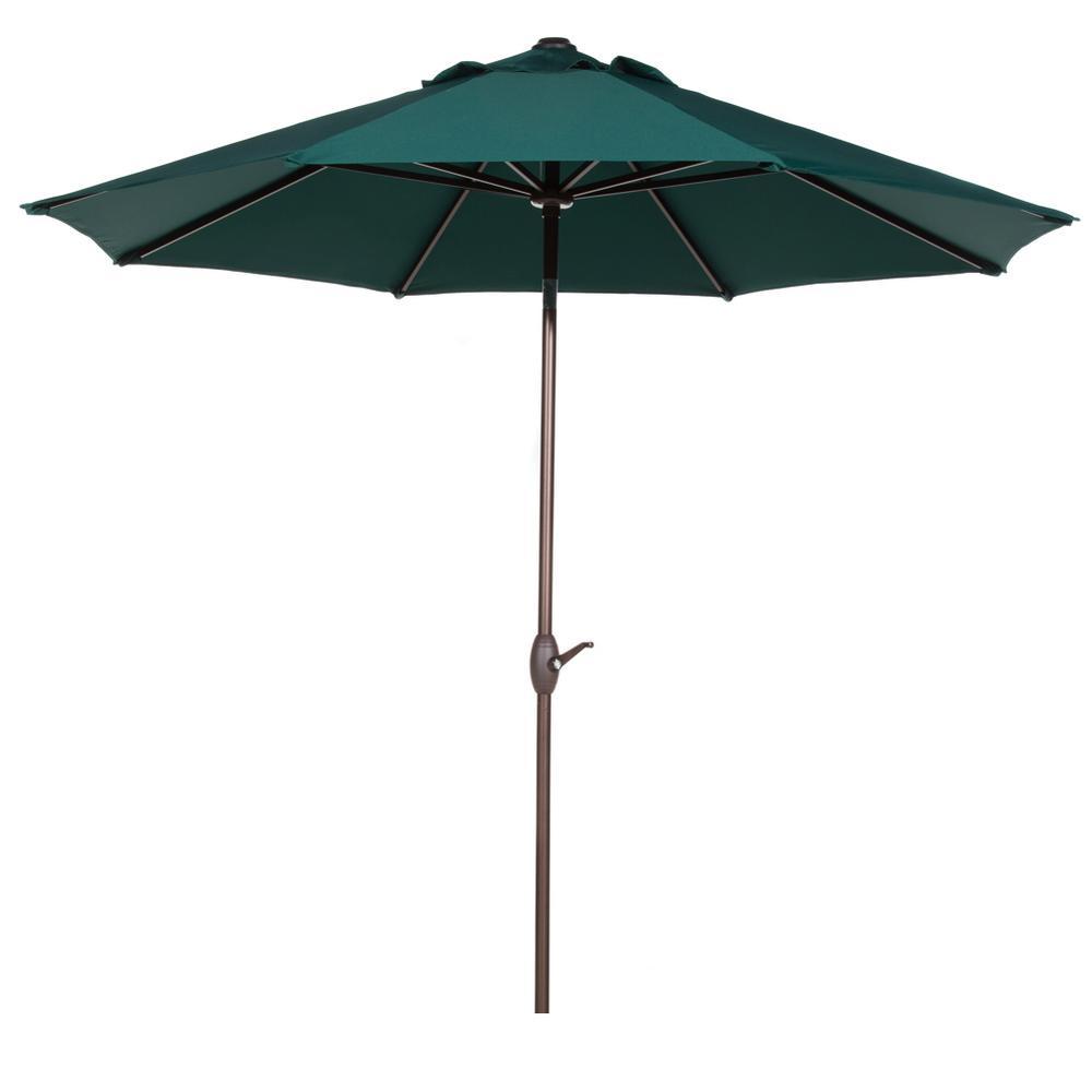 9 ft. Aluminum Market Auto Tilt and Crank Patio Umbrella in Dark Green