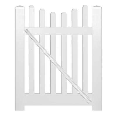 Hampshire 4 ft. W x 3 ft. H White Vinyl Picket Fence Gate