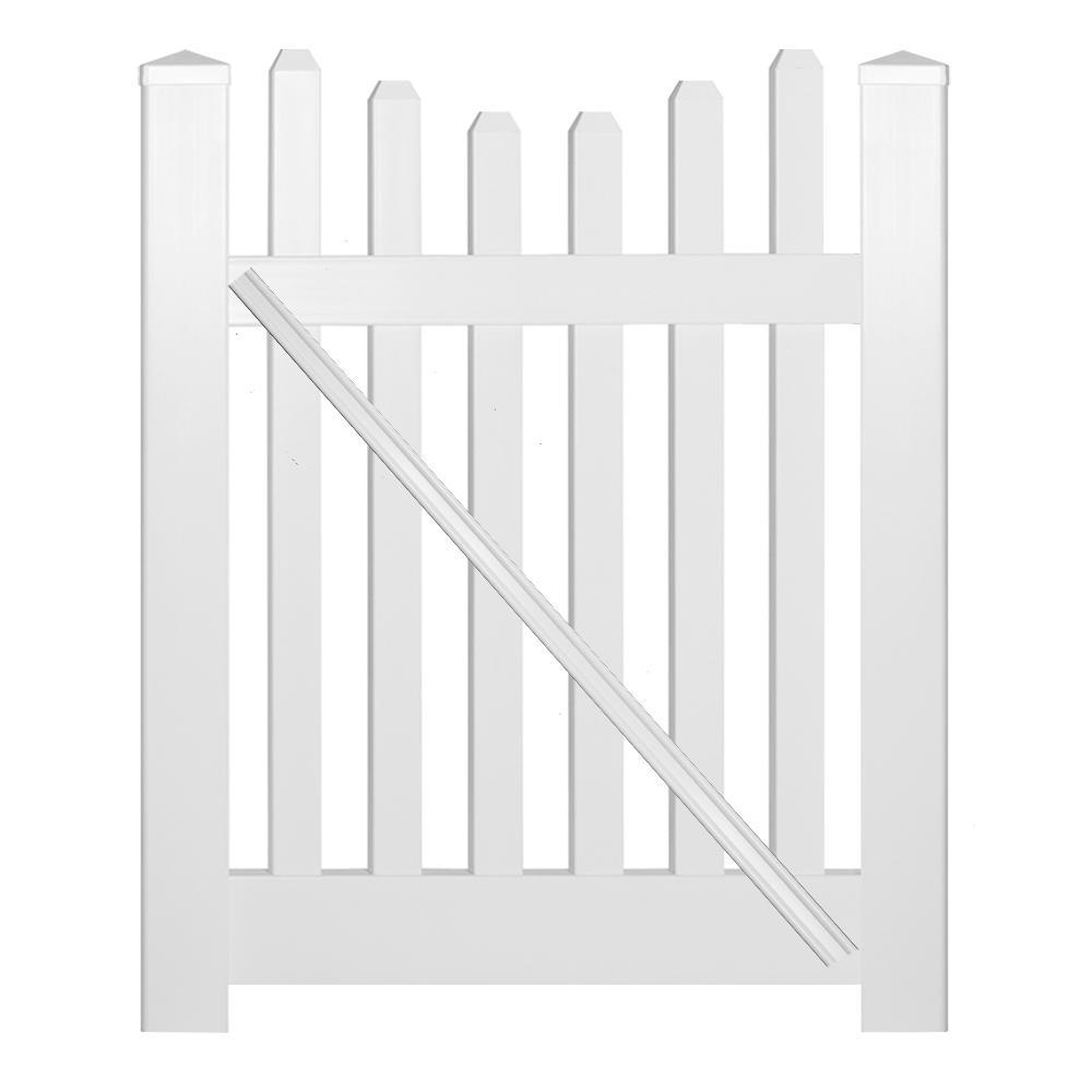 Hampshire 4 ft. W x 5 ft. H White Vinyl Picket Fence Gate Kit