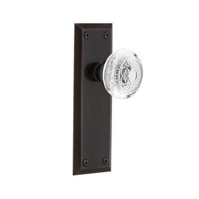 New York Plate 2-3/8 in. Backset Timeless Bronze Privacy Bed/Bath Crystal Egg and Dart Door Knob