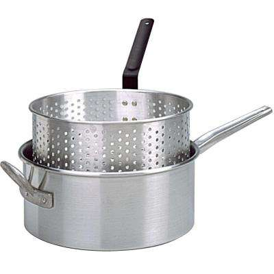 Aluminum Deep Fryer with Long Fry Pan Handle and Punched Aluminum Basket