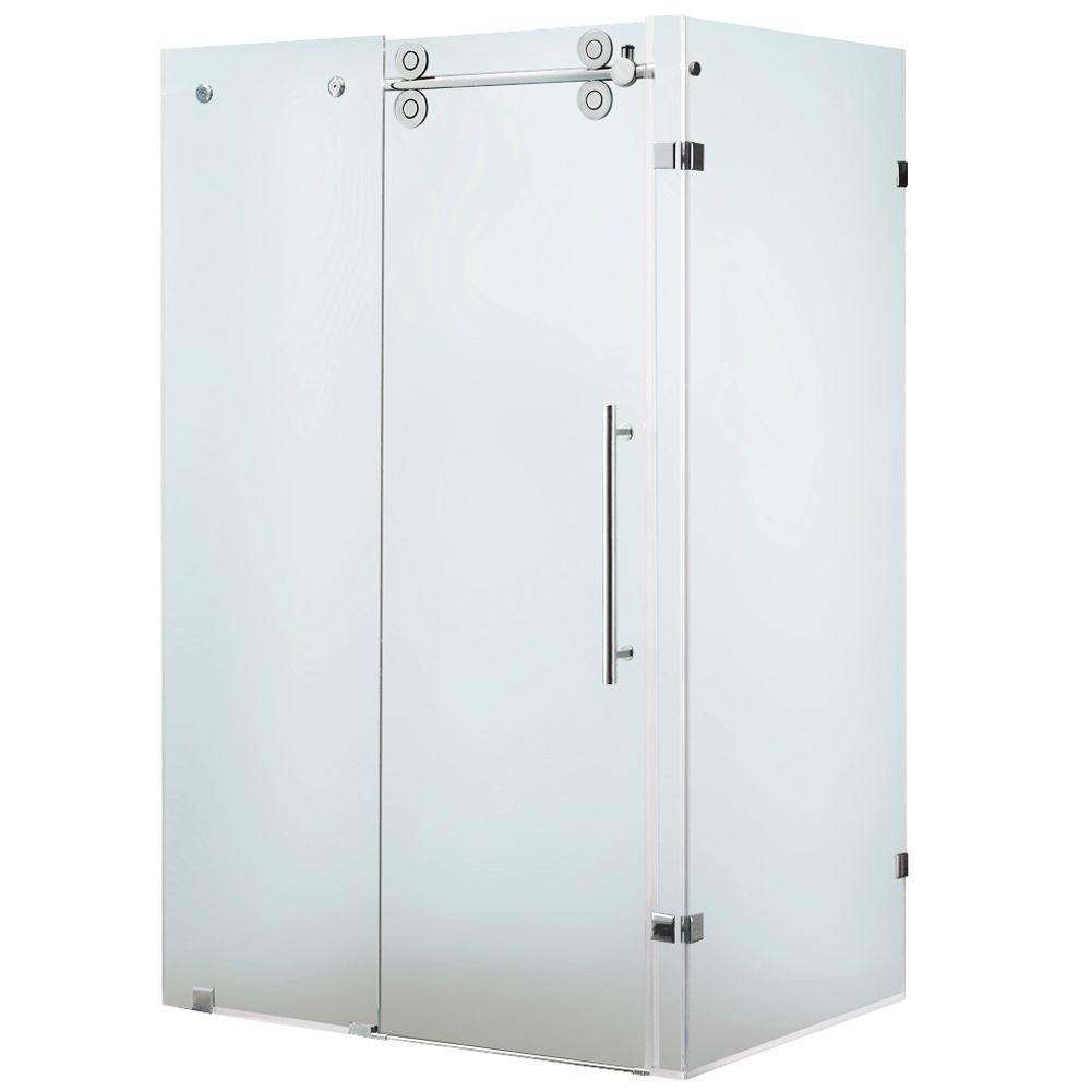 Vigo 35 in. x 73 in. Frameless Bypass Shower Enclosure in Chrome with Frosted Glass and Left Door