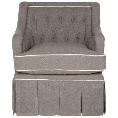 Truitt Grey and White Polyester Swivel Arm Chair