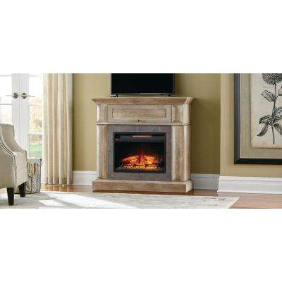 Coleridge 42 in. Mantel Console Infrared Electric Fireplace in Natural Beige Driftwood Finish in 39 in. H