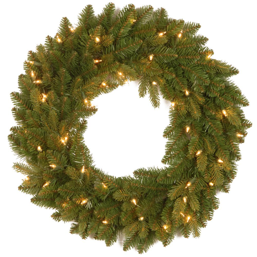 24 in. Avalon Spruce Artificial Wreath with Clear Lights