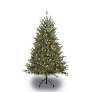 4.5 ft. Pre-Lit Fraser Fir Artificial Christmas Tree with 250 Multi-Colored UL listed Lights by