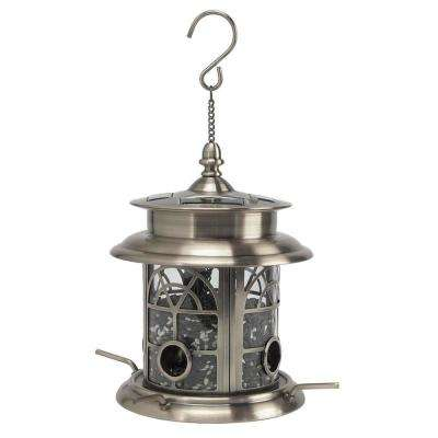 Arch Inlay Pewter Solar Bird Seed Feeder
