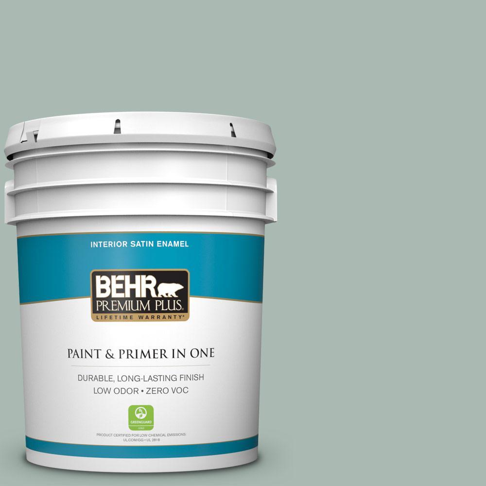BEHR Premium Plus 5-gal. #BXC-85 Quiet Teal Satin Enamel Interior Paint