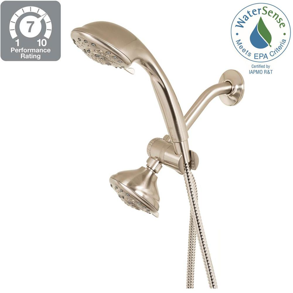 5-Spray Hand Shower and Showerhead Combo Kit in Brushed Nickel