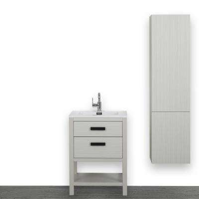 23.6 in. W x 32.3 in. H Bath Vanity in Gray with Resin Vanity Top in White with White Basin