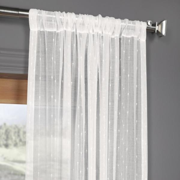 Exclusive Fabrics Furnishings Montpellier White Striped Linen Sheer Curtain 50 In W X 96 In L Shch 201742 96 The Home Depot