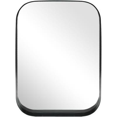Medium Rectangle Black Modern Mirror with Rounded Corners (32 in. H x 24 in. W)