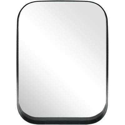 32 in. H x 24 in. W Home Decorators Collection Rectangle Framed Black Accent Mirror with Rounded Corners
