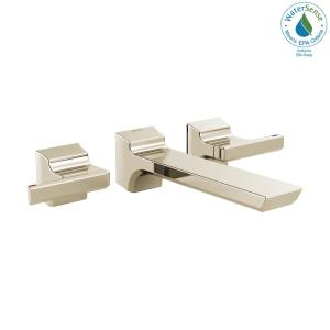 Pivotal 2-Handle Wall-Mount Bathroom Faucet Trim Kit in Polished Nickel (Valve Not Included)