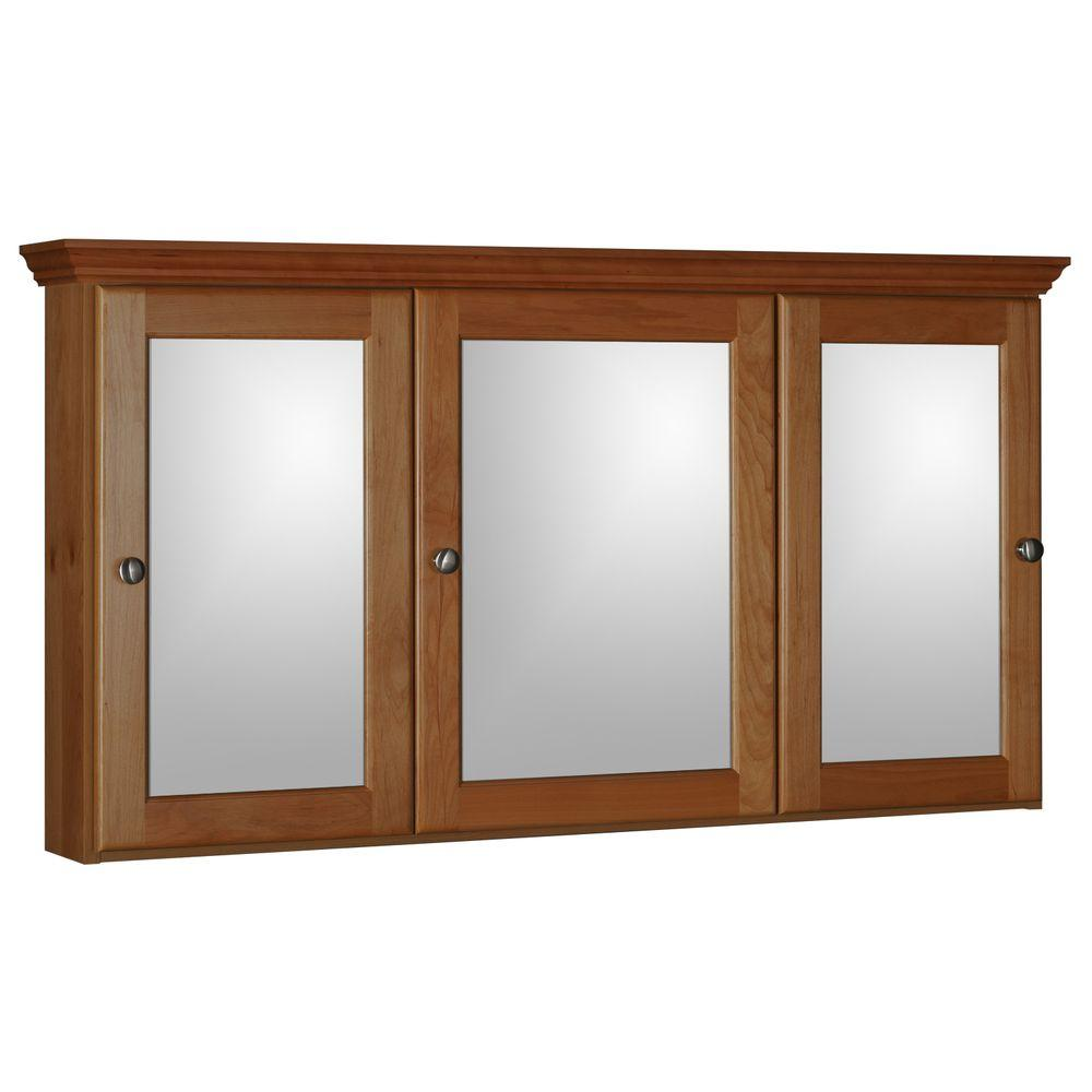 Simplicity by Strasser Ultraline 48 in. W x 27 in. H x 6-1/2 in. D Framed Tri-View Surface-Mount Bathroom Medicine Cabinet in Medium Alder