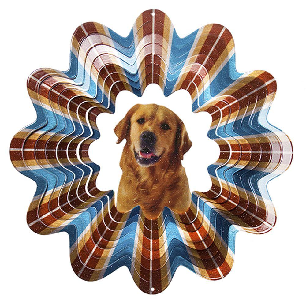 Iron Stop 6.5 in. Golden Retriever Wind Spinner