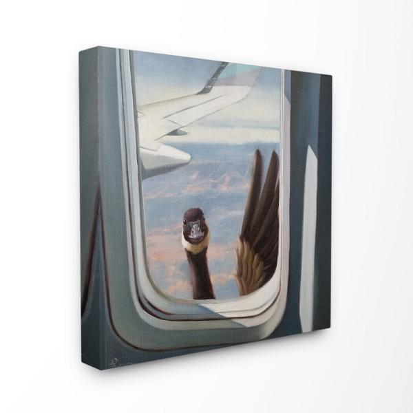 17 In X 17 In Hello From A Goose Airplane Window Scene Painting By Lucia Heffernan Canvas Wall Art
