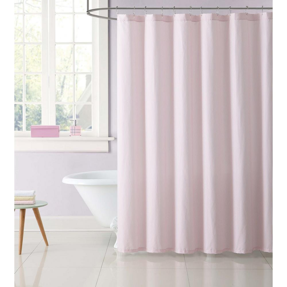 Kids 72 in. Stripe Pink Shower Curtain
