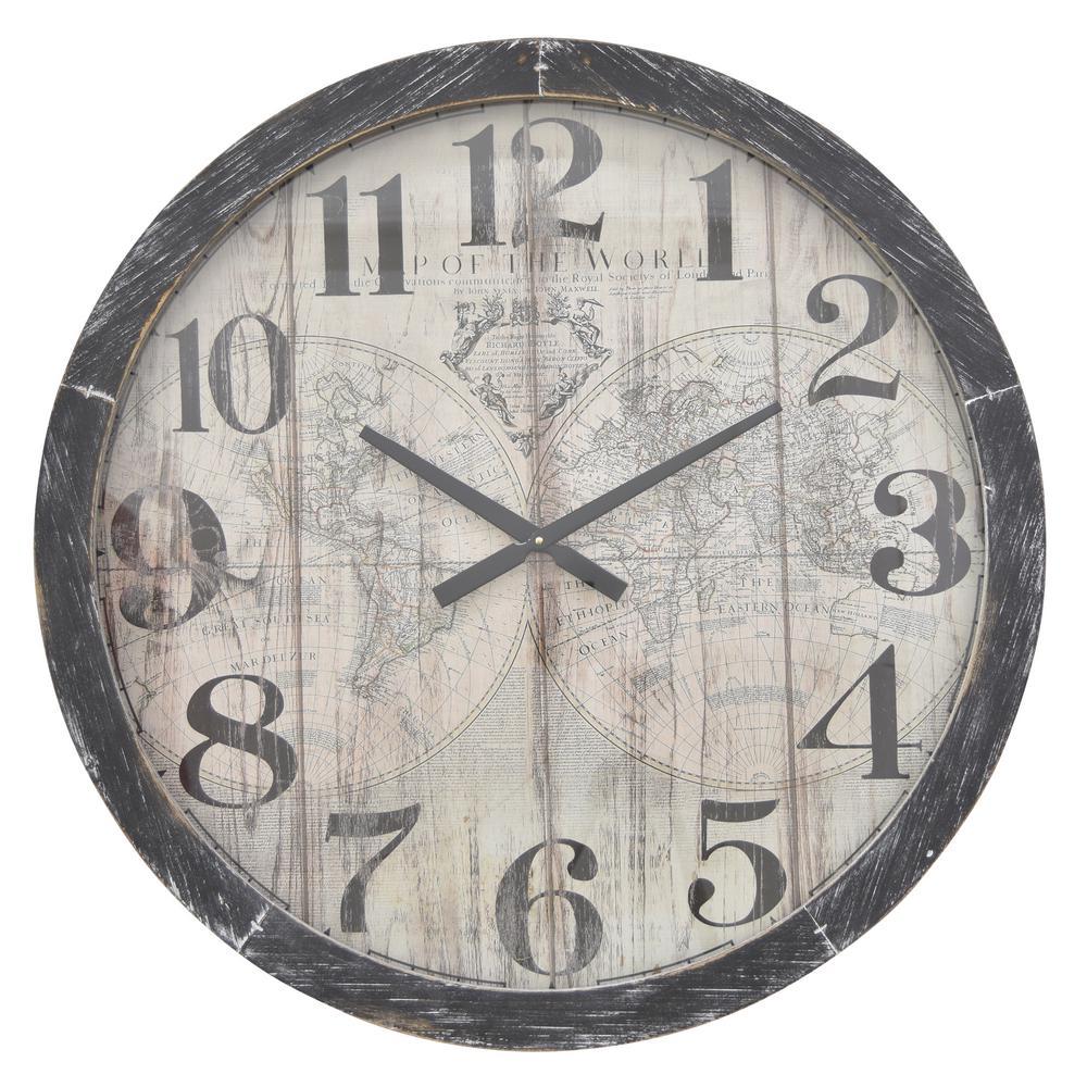Wood Wall Clock in Black Wood 30in L x 3in W x 30in H