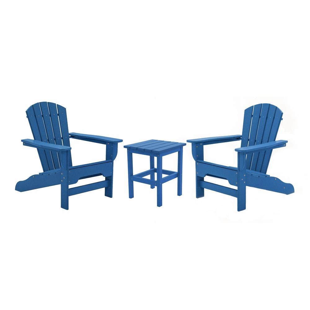 Boca Raton Royal Blue 3-Piece Recycled Plastic Patio Curveback Adirondack Chat Set