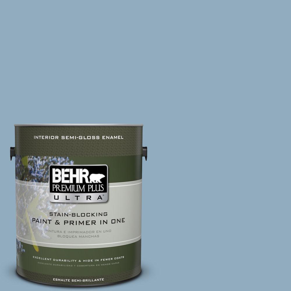 1-gal. #BIC-10 Cotton Denim Semi-Gloss Enamel Interior Paint