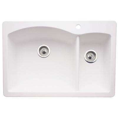 Diamond Dual Drop-in Undermount Granite Composite 33 in. 1-Hole Double Bowl Kitchen Sink in White