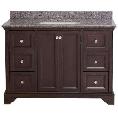 Stratfield 49 in. W x 22 in. D Bath Vanity in Chocolate with Stone Effect Vanity Top in Mineral Gray with White Sink