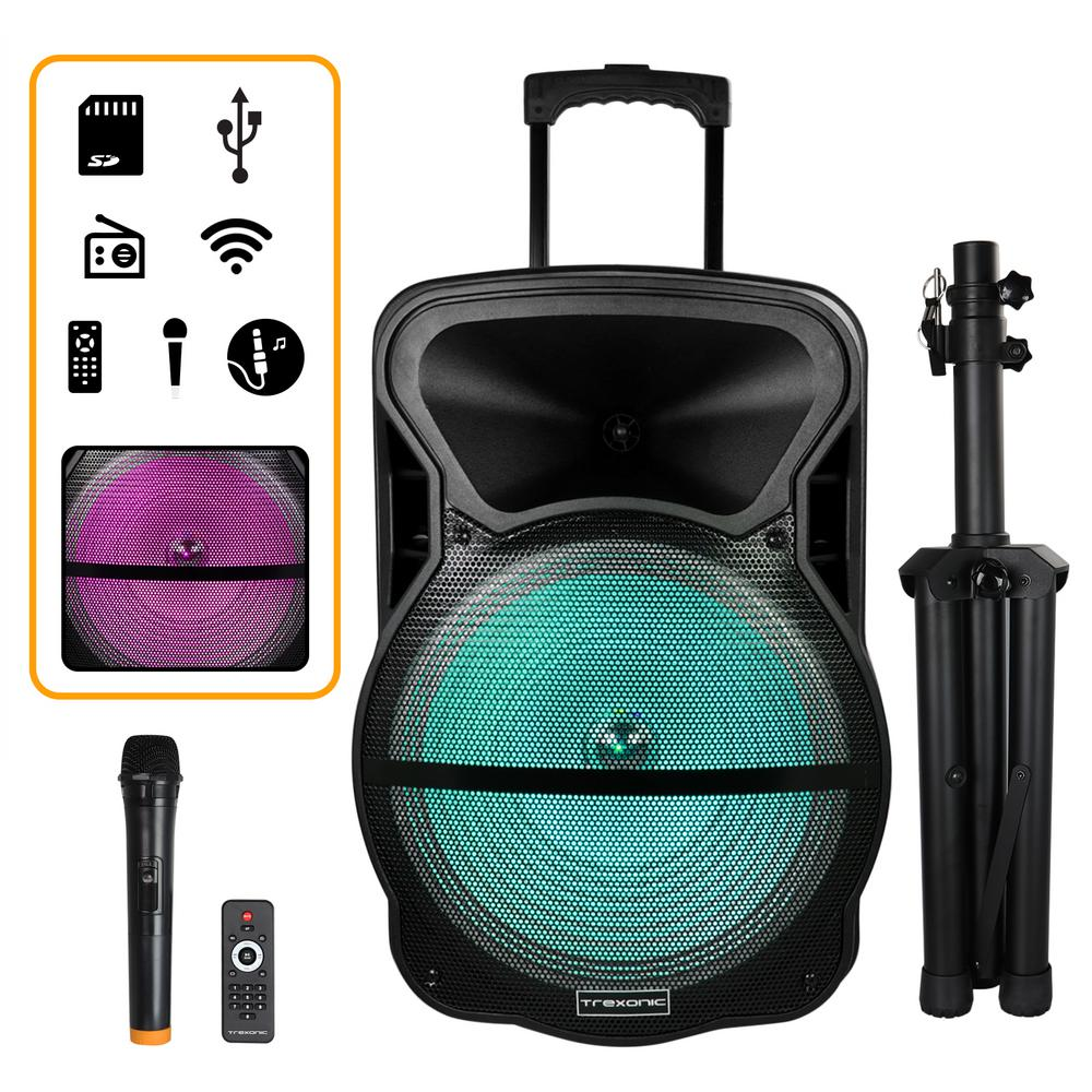 15 in. Portable Bluetooth Speaker with Tripod Stand