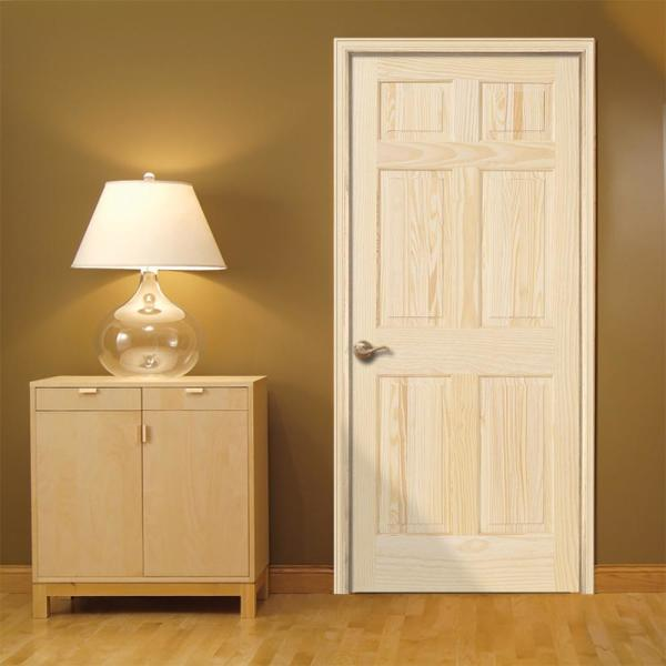 Jeld Wen 30 In X 80 In Pine Unfinished Right Hand 6 Panel Solid Wood Single Prehung Interior Door 950982 The Home Depot