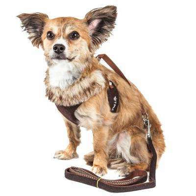 Luxe Furracious X-Small 2-in-1 Dog Harness Leash with Removable Fur Collar in Brown