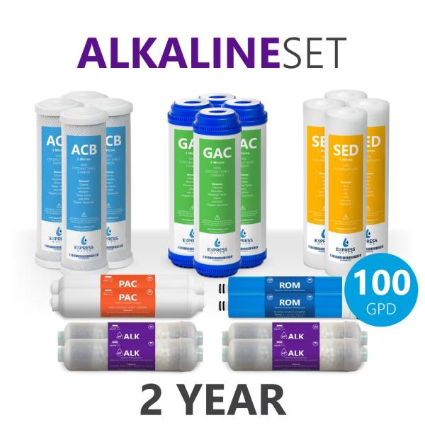Express Water – 2 Years Alkaline Reverse Osmosis System Filter Set – 20 Filters with 100 GPD RO Membrane – 10 inch Size