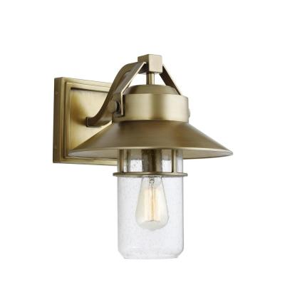 Boynton 15.5 in. 1-Light Painted Distressed Brass Outdoor Wall Lantern Sconce