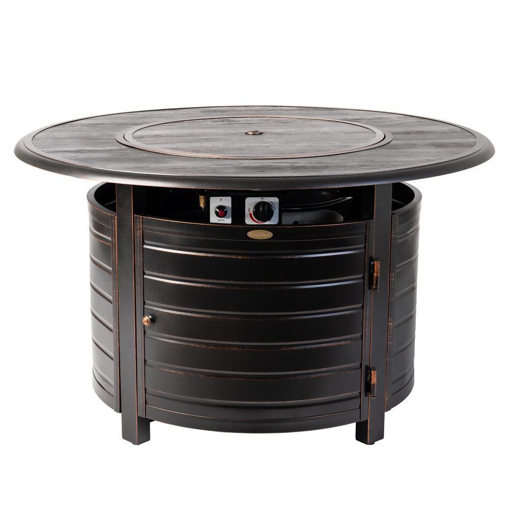 Fire Sense Thatcher 44 in. x 24 in. Round Aluminum Propane Fire Pit Table in Antique Bronze