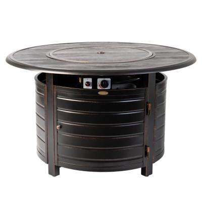 Thatcher 44 in. x 24 in. Round Aluminum Propane Fire Pit Table in Antique Bronze