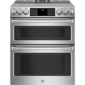 Click here to buy GE Cafe 6.7 cu. ft. Slide-In Double Oven Electric Range with Self-Cleaning Convection Oven in Stainless Steel by GE.