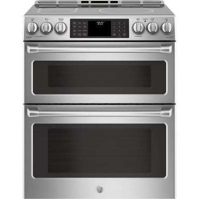 6.7 cu. ft. Slide-In Double Oven Electric Range with Self-Cleaning True European Convection Oven in Stainless Steel