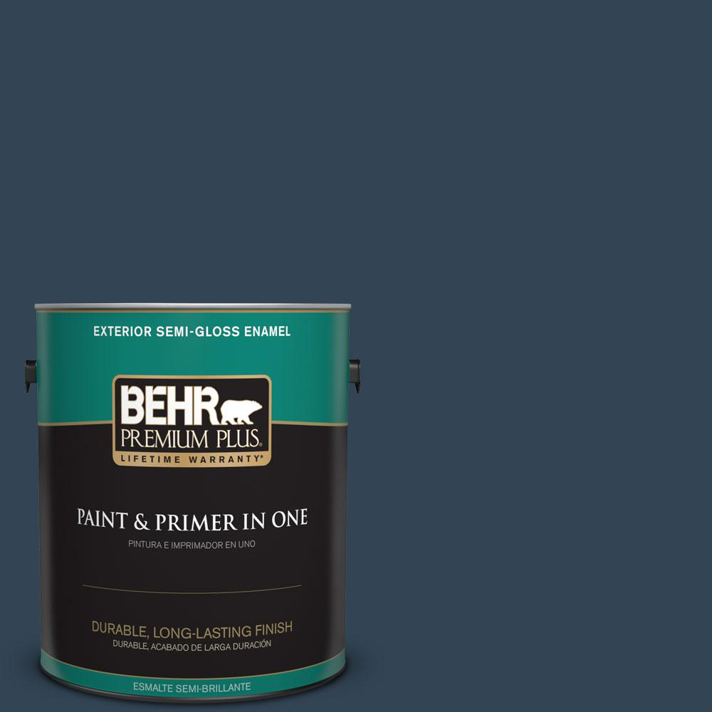 BEHR Premium Plus 1-gal. #570F-7 Midnight Dream Semi-Gloss Enamel Exterior Paint