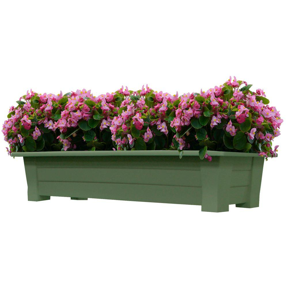 Adams manufacturing 36 in x 15 in sage resin deck planter