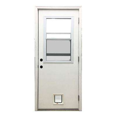 30 in. x 80 in. Classic Clear Vented Half Lite LHOS White Primed Fiberglass Prehung Front Door with Small Cat Door