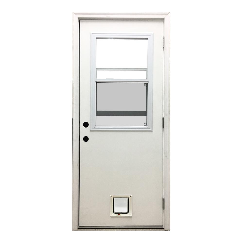 Classic Vented Half Lite LHOS White Primed Textured Fiberglass